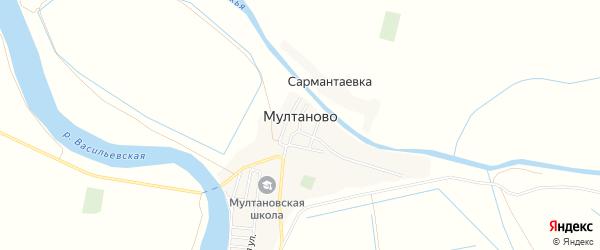 Карта села Мултаново в Астраханской области с улицами и номерами домов