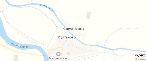 Карта села Сармантаевки в Астраханской области с улицами и номерами домов