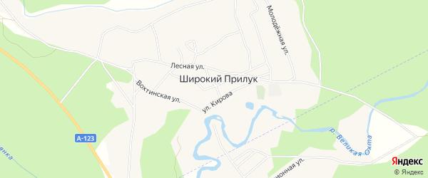 Карта поселка Широкия Прилука в Архангельской области с улицами и номерами домов