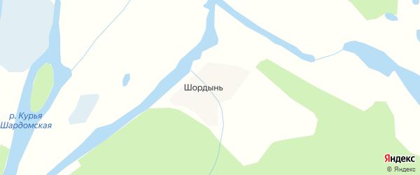 Карта деревни Шордыни в Архангельской области с улицами и номерами домов