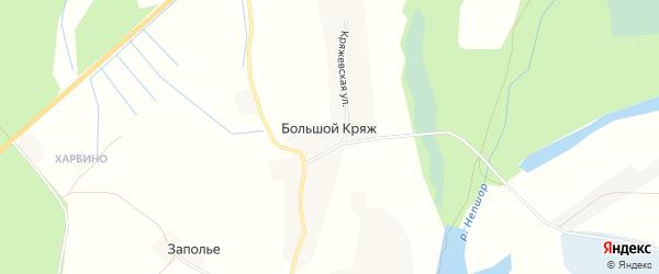 Карта деревни Большого Кряжа в Архангельской области с улицами и номерами домов