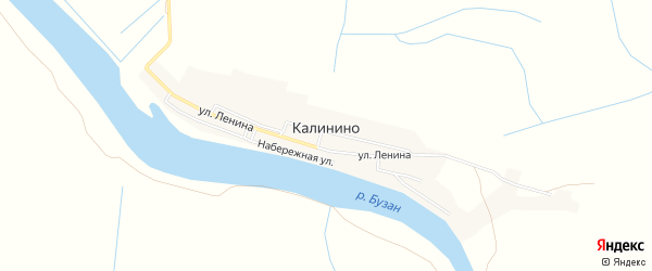 Карта села Калинино в Астраханской области с улицами и номерами домов