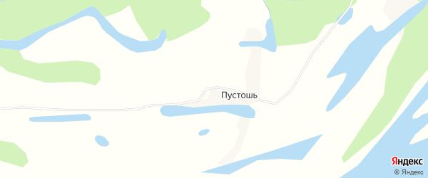 Карта деревни Пустоши в Архангельской области с улицами и номерами домов