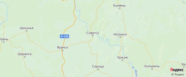 Карта Советского района Кировской области с городами и населенными пунктами