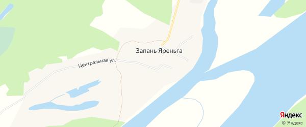 Карта поселка Запани Яреньга в Архангельской области с улицами и номерами домов