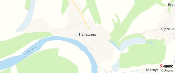 Карта деревни Паладино в Архангельской области с улицами и номерами домов