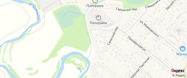 Сельский переулок на карте села Яренска с номерами домов