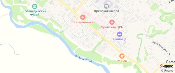 Переулок Степана Куликова на карте села Яренска с номерами домов