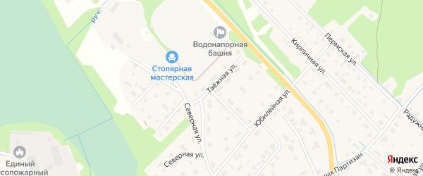 Таежная улица на карте села Яренска с номерами домов