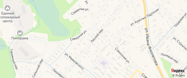 Лесной переулок на карте села Яренска с номерами домов
