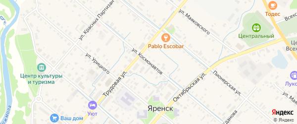 Улица Космонавтов на карте села Яренска с номерами домов