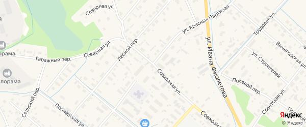 Улица Красных Партизан на карте села Яренска с номерами домов