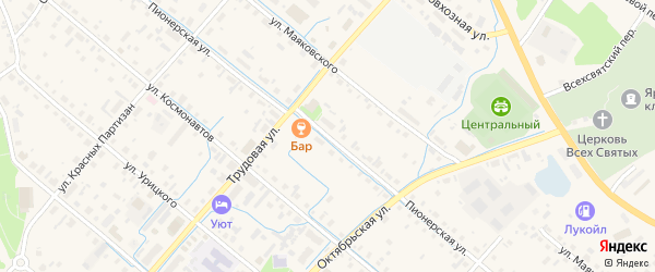 Пионерская улица на карте села Яренска с номерами домов