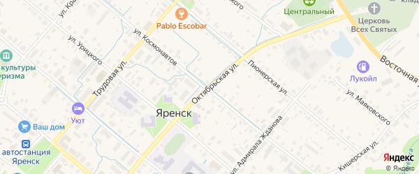 Октябрьская улица на карте села Яренска с номерами домов