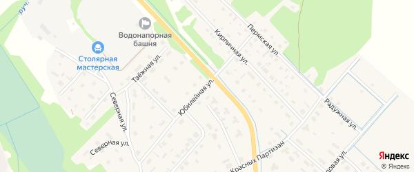Юбилейная улица на карте села Яренска с номерами домов