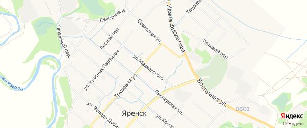 Карта села Яренска в Архангельской области с улицами и номерами домов