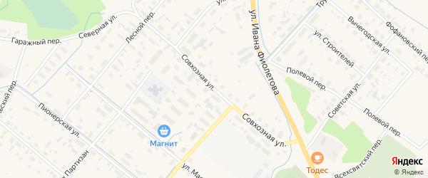Совхозная улица на карте села Яренска с номерами домов