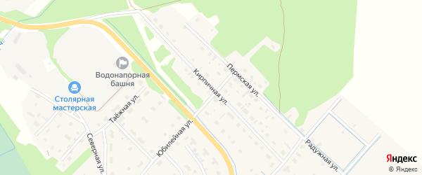 Кирпичная улица на карте села Яренска с номерами домов