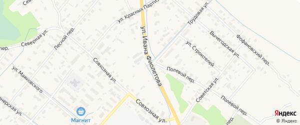Улица Ивана Фиолетова на карте села Яренска с номерами домов