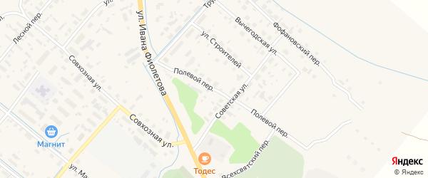 Полевой переулок на карте села Яренска с номерами домов
