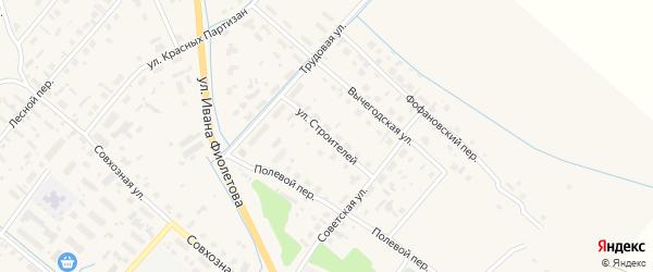 Улица Строителей на карте села Яренска с номерами домов