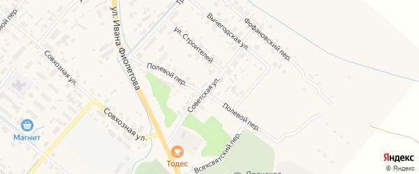 Советская улица на карте села Яренска с номерами домов
