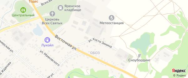 Улица Кости Зинина на карте села Яренска с номерами домов
