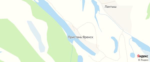 Карта деревни Пристани Яренск в Архангельской области с улицами и номерами домов