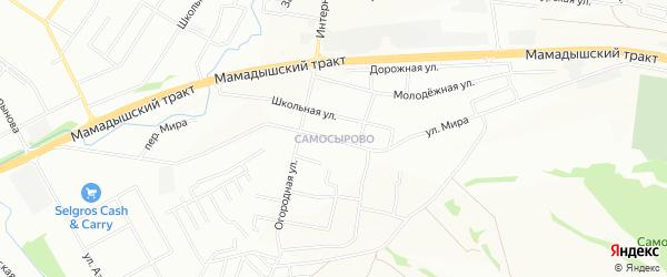 Карта деревни Самосырово города Казани в Татарстане с улицами и номерами домов