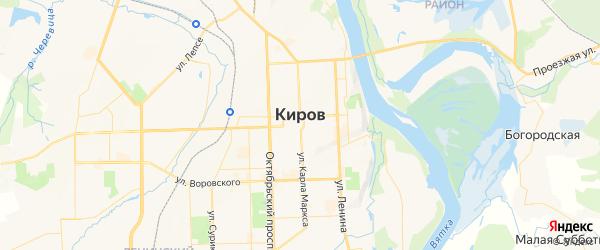 Карта Кирова с районами, улицами и номерами домов