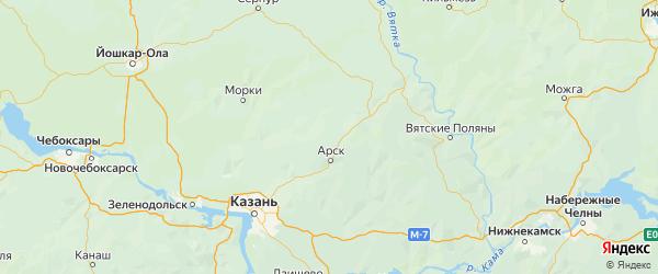 Карта Арского района республики Татарстан с населенными пунктами и городами
