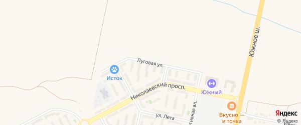 Луговая улица на карте Южного садового некоммерческого товарищества с номерами домов