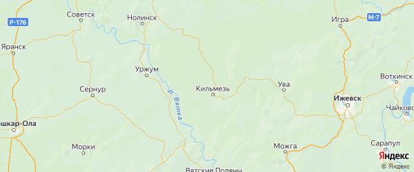 Карта Кильмезского района Кировской области с городами и населенными пунктами