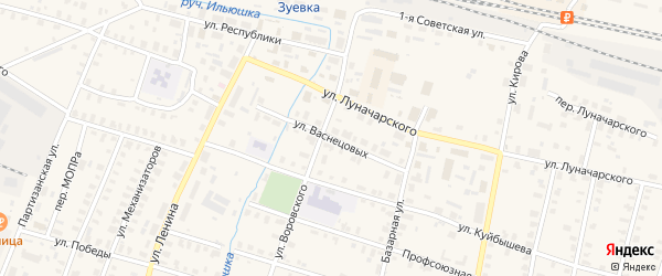 Улица Васнецовых на карте Зуевки с номерами домов