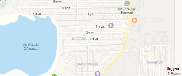 Центральная улица на карте поселка Акая с номерами домов