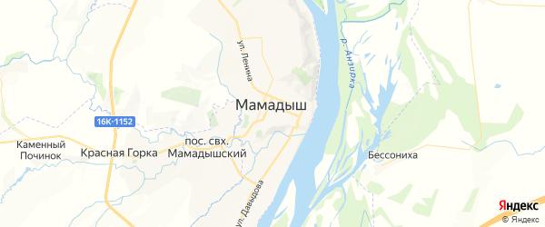 Карта Мамадыша с районами, улицами и номерами домов: Мамадыш на карте России