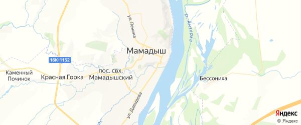 Карта Мамадыша с районами, улицами и номерами домов