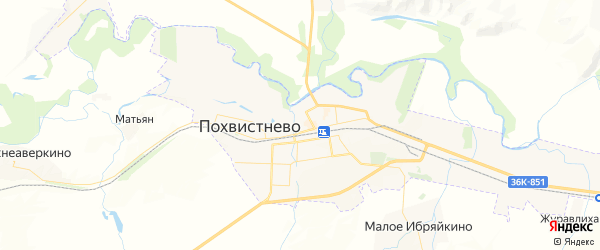 Карта Похвистнево с районами, улицами и номерами домов: Похвистнево на карте России