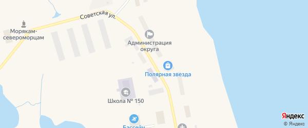 Советская улица на карте поселка Белушья Губы с номерами домов