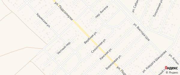 Вербная улица на карте садового некоммерческого товарищества Зари с номерами домов