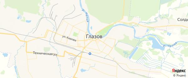 Карта Глазова с районами, улицами и номерами домов: Глазов на карте России
