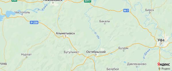 Карта Азнакаевского района республики Татарстан с городами и населенными пунктами