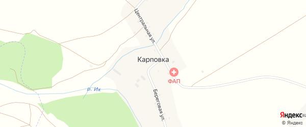 Береговая улица на карте села Карповки с номерами домов