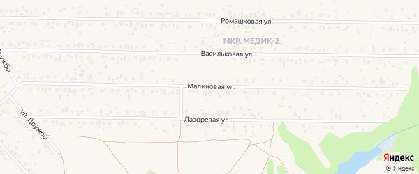 Малиновая улица на карте садового некоммерческого товарищества Лесовика с номерами домов