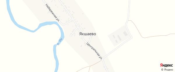 Центральная улица на карте деревни Якшаево с номерами домов