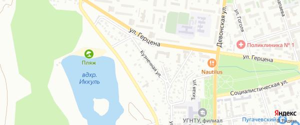 Кузнечная улица на карте Октябрьского с номерами домов