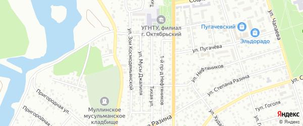Тихая улица на карте Октябрьского с номерами домов
