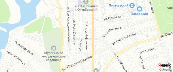 Нефтяников 1-й проезд на карте Октябрьского с номерами домов
