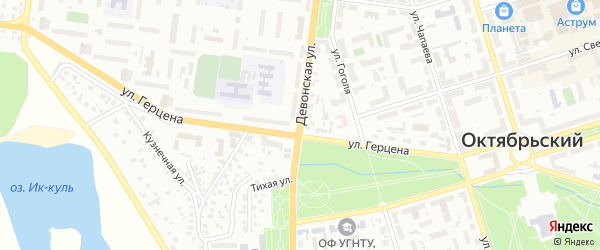 Девонская улица на карте Октябрьского с номерами домов