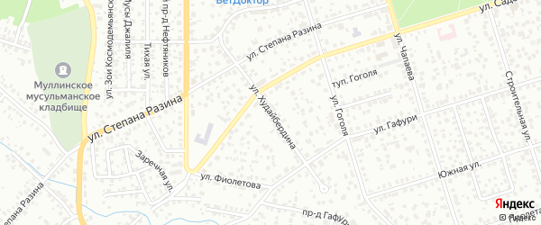 Улица Худайбердина на карте Октябрьского с номерами домов